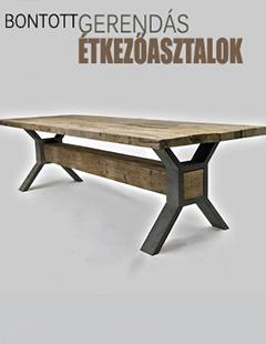 rusztikus, bontott gerendából készült asztalok