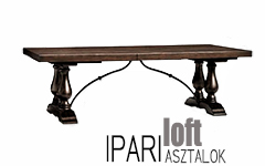 esztergált lábas, loft stílusú, rusztikus étkezőasztal